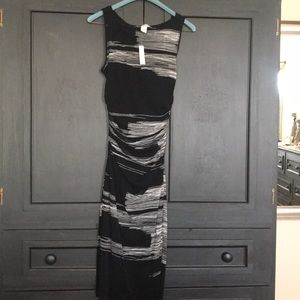 WHBM Black/White Fitted-Tank Dress